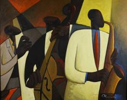 Joseph Deweese Holston (b.1944)  American Jazz at Takoma Station, 1998  Oil on Canvas Gift of the artist