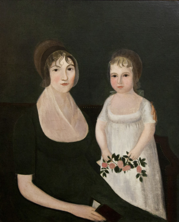 """Joshua Johnson, Portrait of Susanna Amos Yoe and Daughter Mary Elizabeth, 1809. Oil on canvas. 35.5""""h x 29""""w. Collection of the Washington County Museum of Fine Arts."""