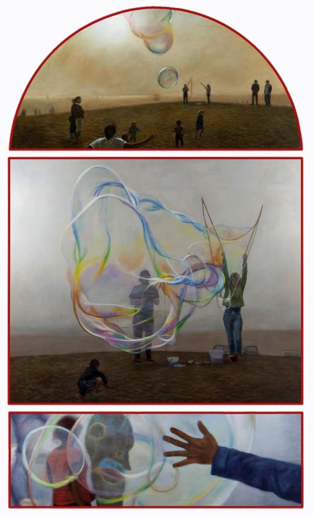 Patrick Dillon, Bubbles Triptych, 2019, Oil on canvas. Best in Show, CVA 2021