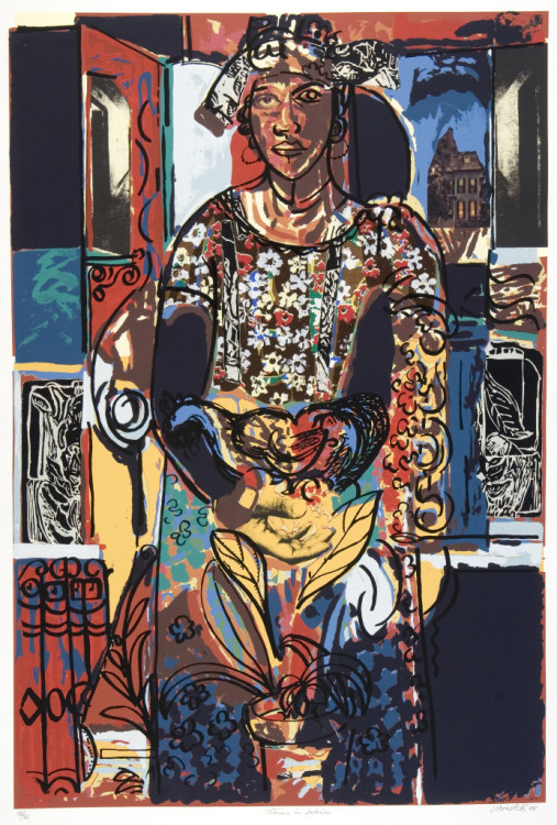 Woman in Interior by David C. Driskell, 2008. Silkscreen, collage, and woodcut. 48/75, 42x30 in. Loan from David C. Driskell Center at the University of Maryland, College Park.