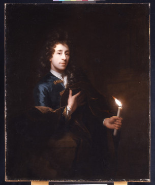 """Self-Portrait of the Artist Holding a Candle"", Godfried Schalcken, 1694"