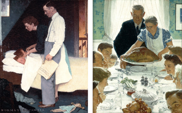 "Norman Rockwell (1894-1978), ""Freedom From Fear"" and ""Freedom From Want,"" 1943. Norman Rockwell Museum Collections. ©SEPS: Curtis Publishing, Indianapolis, IN"