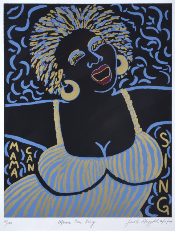 Faith Ringgold, Mama can Sing, 2003. Serigraph, 18 x 24 in. UMUC Permanent Collection, Gift of Robert and Jean Steele