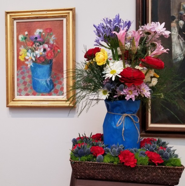 Hagerstown Garden Club: Betsy Hardinge, Margaret Waltersdorf, and Jennifer Thomas Artwork: Bouquet in Blue Paper by William James Glackens