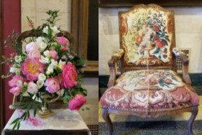 Howard County Garden Club: Darlene Brotzman and Dessie Moxley Artwork: Louis XV Armchair with Gobelin Petit Point Upholstery by unknown French maker