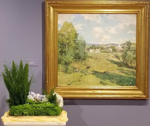 Mt. Airy Garden Club: Ruth Ridgely, Cathy Hoover, Linda Bonifant, and Barbara Rogers Artwork: New England Afternoon by Willard LeRoy Metcalf