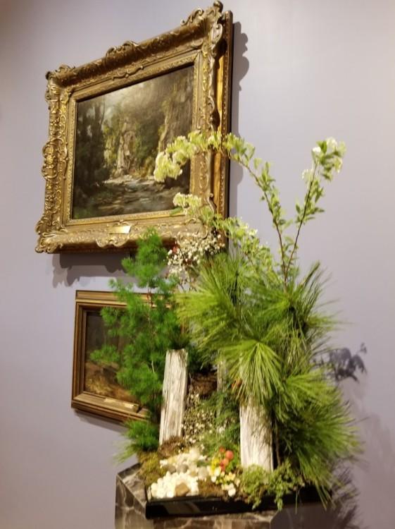 Green-walled Garden Club: Sandy Brown, Richelle Emerick, Starr Myklebust, and Mikki Stratmeyer Artwork: Landscape by Gustave Corbet
