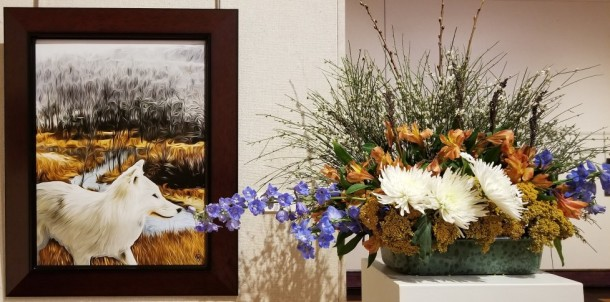 Town and Country Garden Club: Loretta Baker, Mary Heizer, and Susanne Kass Artwork: Winter Wolf by Phillip Grove