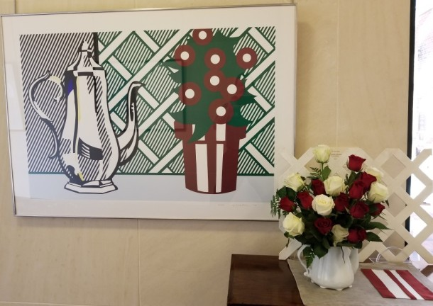 Designers Guild: Marilyn Potter Artwork: Still Life with Pitcher and Flowers by Roy Lichtenstein