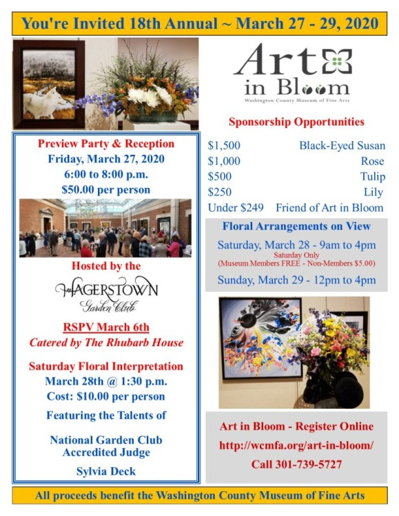 Click to enlarge the Art in Bloom 2020 flyer.