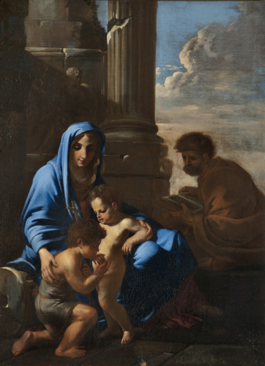 Jean Miel, Sacred Family with the Young Baptist, 1655-58, Oil on canvas, 21 1/4 x 25 5/8 in., Courtesy of Collection Fagiolo, Palazzo Chigi, Ariccia.