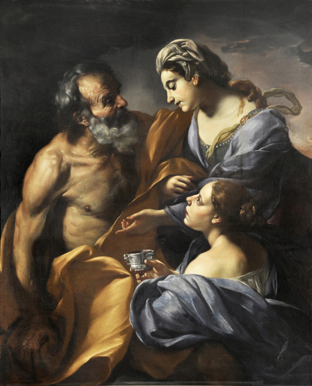 Giacinto Brandi, Lot and his Daughters, 1670-75, Oil on canvas, Courtesy of Collection Lemme, Palazzo Chigi, Ariccia.