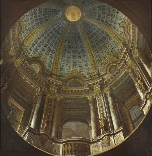 Andrea Pozzo, Study for the Perspective of an illusionary Dome, c. 1676, Oil on canvas, 35 7/8 x 34 1/4 in., Courtesy of Collection Fagiolo, Palazzo Chigi, Ariccia.