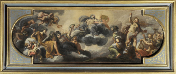 Giuseppe Passeri, The Glory of the Patrizi House, c. 1679, Oil on canvas, 25 x 58 1/4 in., Courtesy of Collection Lemme, Palazzo Chigi, Ariccia.