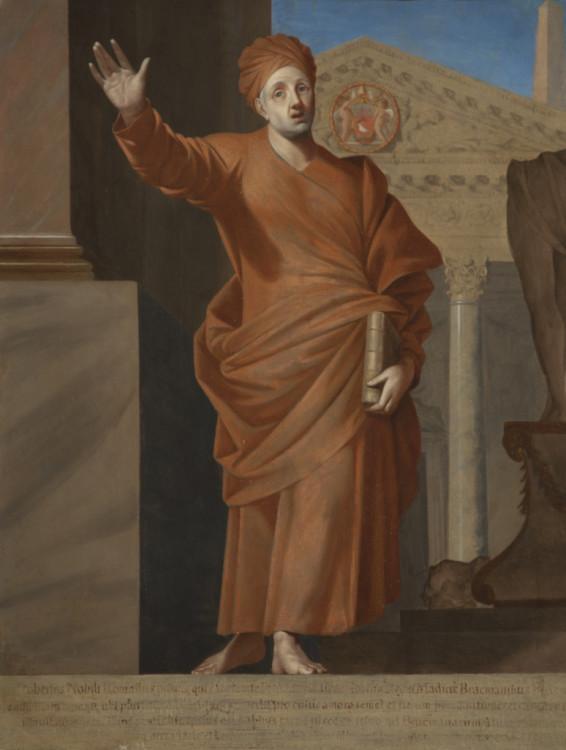 Jacques Stella, Roberto De Nobili Jesuit missionary in Madras, 1649, Oil on Canvas, 20 1/8 x 24 3/4 in. Palazzo Chigi, Ariccia