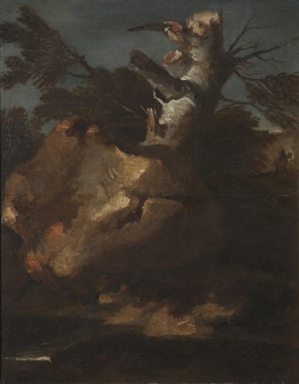 Salvator Rosa, Tree with a Rock, 1650-1655, Oil on Canvas, 20 1/2 x 17 7/8 in., Palazzo Chigi, Ariccia
