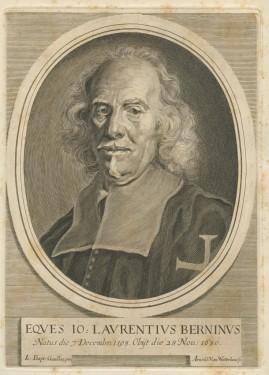 "2. Giovan Battista Gaulli, called ""Il Baciccio"" and Arnold Van Westerhout, Portrait of Gian Lorenzo Bernini, c. 1680, Burin on paper, Palazzo Chigi, Ariccia."