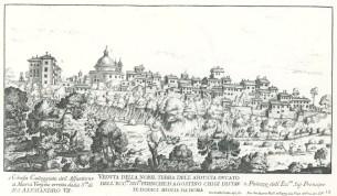 7. Giovan Battista Falda, Panoramic View of Ariccia, 1667, Etching on paper, Palazzo Chigi, Ariccia.